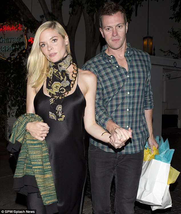 Evening elegance: Jaime dresses up for a night out with her husband, Kyle Newman