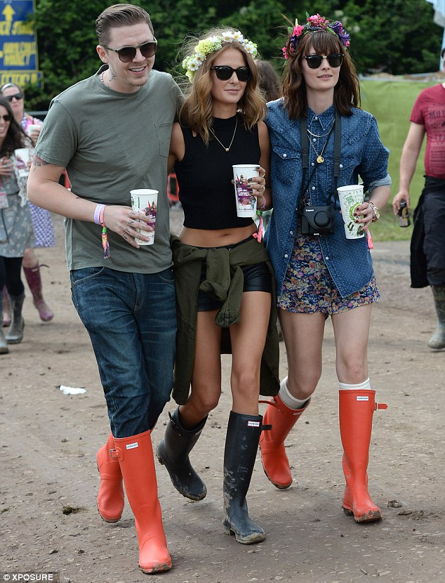 Green is the colour: Mackintosh with fiance Professor Green and pal Charlotte De Charle