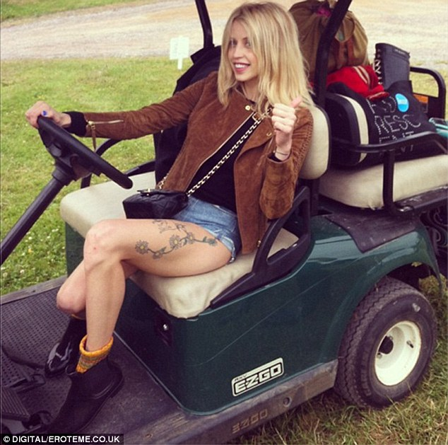 Travelling in style: Peaches Geldof also took some time off from mummy duties to join the fashion set at Glastonbury