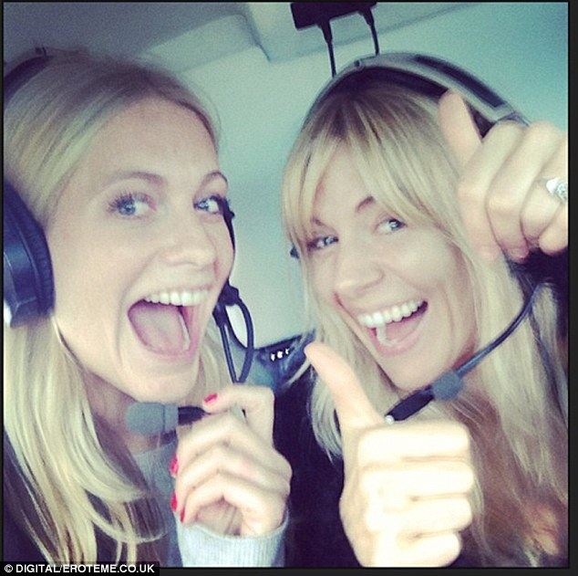 Travelling in style: Sienna Miller and Poppy Delevingne arrived via helicopter and shared the moment on Instagram
