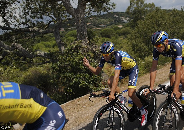 Pointing it out: Spain's Alberto Contador talks in a practice race ahead of the Tour's big kick-off