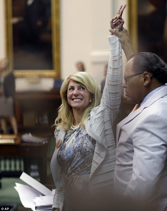 V is for victory! Mrs Davis reacts to her successful filibuster blocking and anti-abortion bill