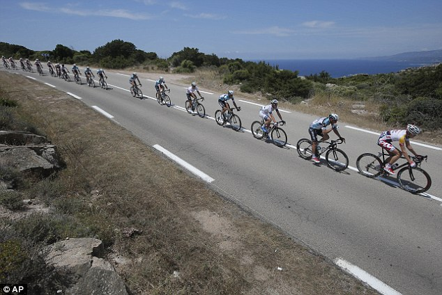 In formation: The pack rides along the coast line of the Mediterranean Sea