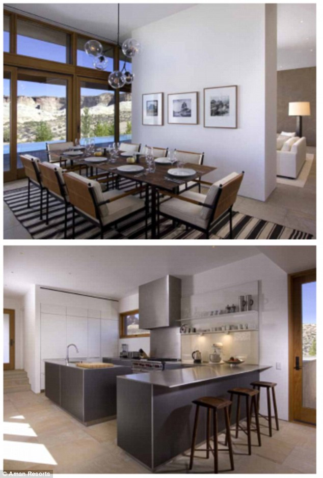 Home away from home: The villas come with a spacious dining room that can sit eight (top) and a gourmet kitchen with stainless-steel appliances (bottom)