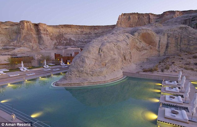 Natural beauty: Amangiri resort boasts a swimming pool tucked into the surrounding rock