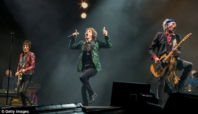 Rocking out: The Rolling Stones didn't disappoint the huge crowd at the Pyramid Stage at Glastonbury on Saturday night