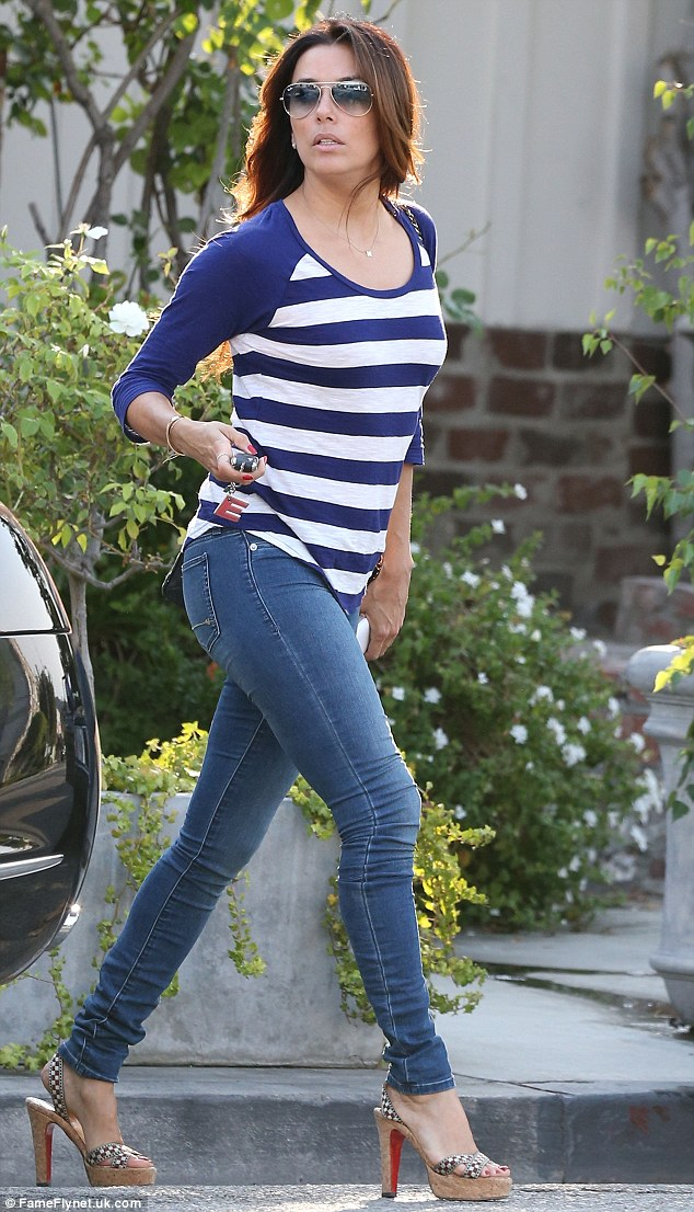 Walking tall: Eva Longoria proved she is still a woman to be reckoned as she strolled confidently from Ken Paves Salon in West Hollywood on Saturday