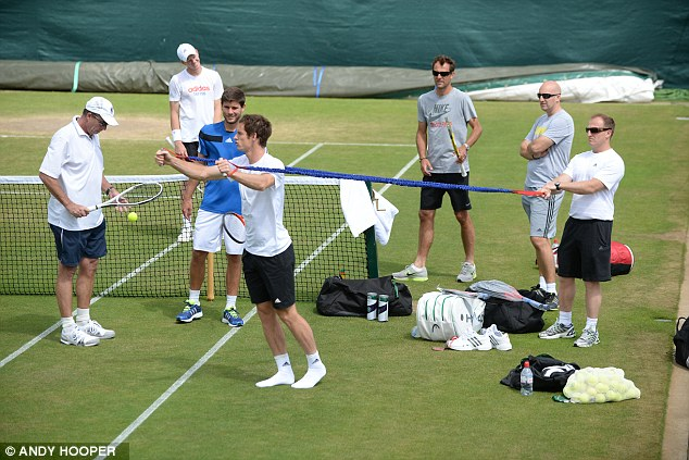 On the stretch: Murray prepares for his hit at Aorangi Park