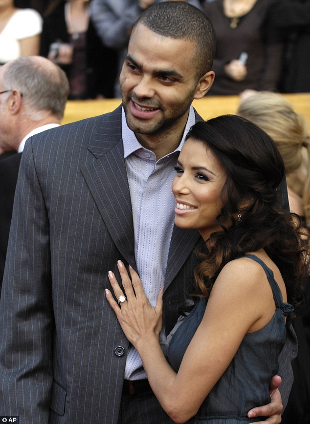 Happier times: Eva was besotted with ex-husband Tony Parker (pictured here in January 2007) before she found incriminating texts from him to a teammate's wife