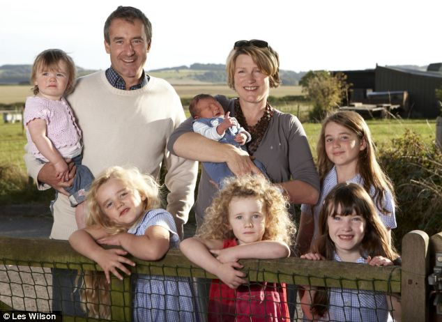 Sky News presenter Colin Brazier, pictured with wife Jo and their six children in 2008, says large families are good for the health and wellbeing of children