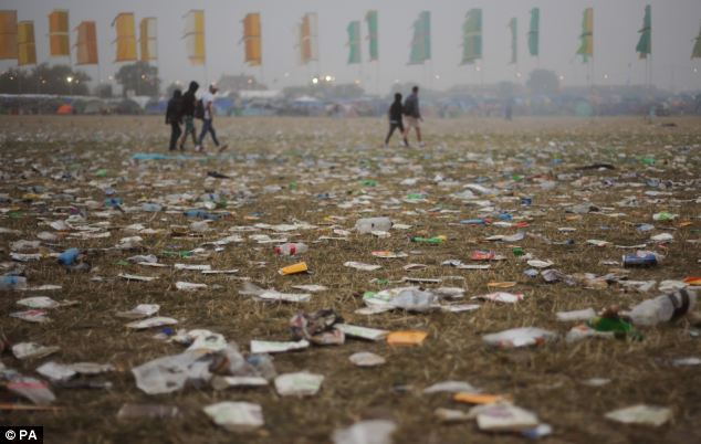 Huge amounts of litter left over from the previous night's entertainment at the Other Stage awaited cleaners as dawn broke