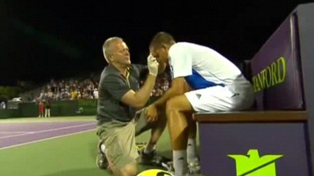 Losing it: Youzhny once repeatedly smashed his racket against his head and drew blood