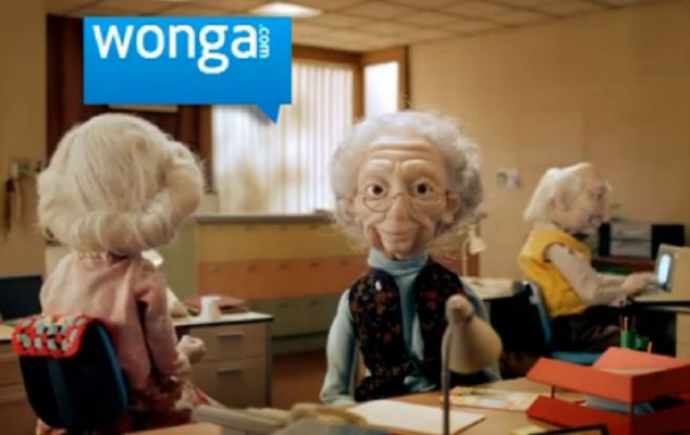 Advert: Puppets of elderly people feature in promotions for Wonga, which charges interest rates of 5,000 per cent