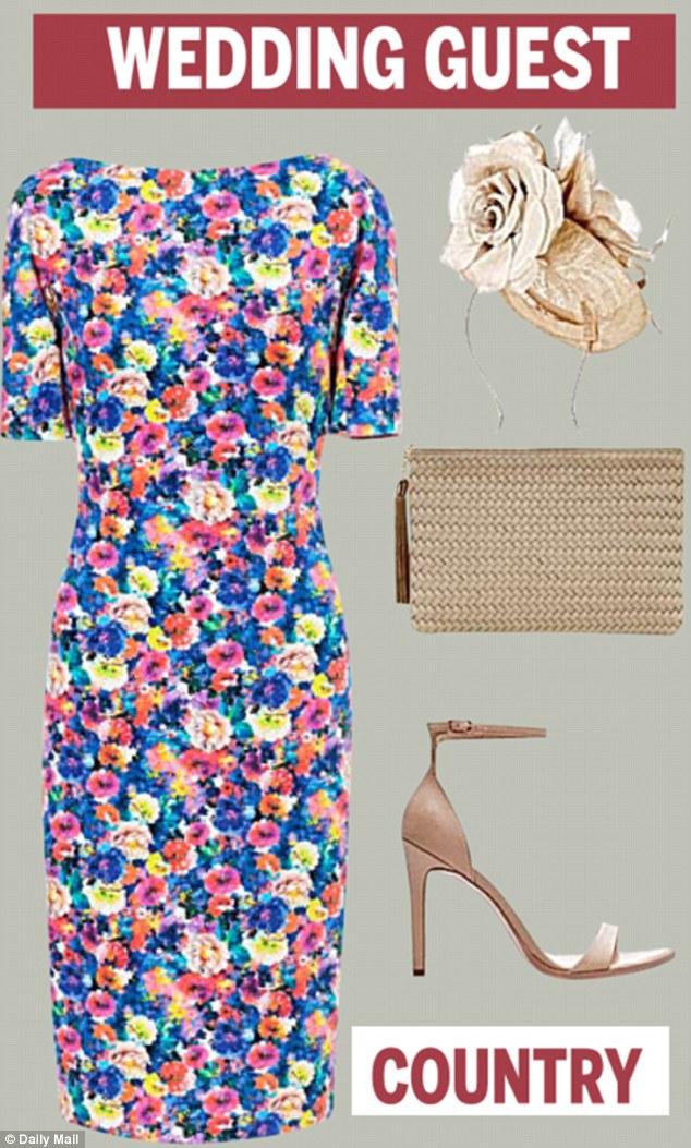 Floral dress £49.99, and sandals, £39.99, both Zara.com. Fascinator, £65, coast-stores.com. Woven clutch, £55, debenhams.com