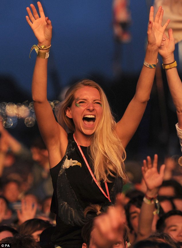 Having the time of her life! The band were greeted by loud cheers as they emerged on stage