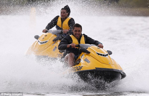 Ready, jet, go! Toby Faletau leads Mako Vunipola as the British and Irish Lions spend time jet skiing in Noosa, Australia