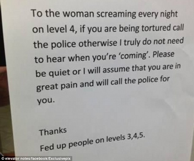 Every night? Residents across three floors are apparently concerned about the screams from one woman's flat every night
