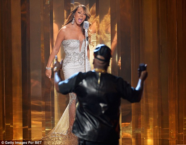 More than a duet: Mariah performed with Miguel and rapper Young Jeezy