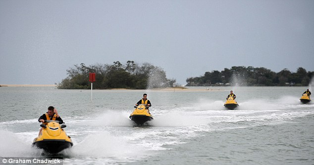 Lining up: The Lions were in high spirits on Monday on the jetskis