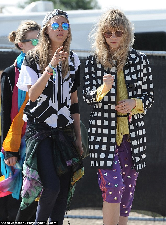 Cara and Suki Waterhouse attended the festival - and Cara was a regular at The Rabbit Hole