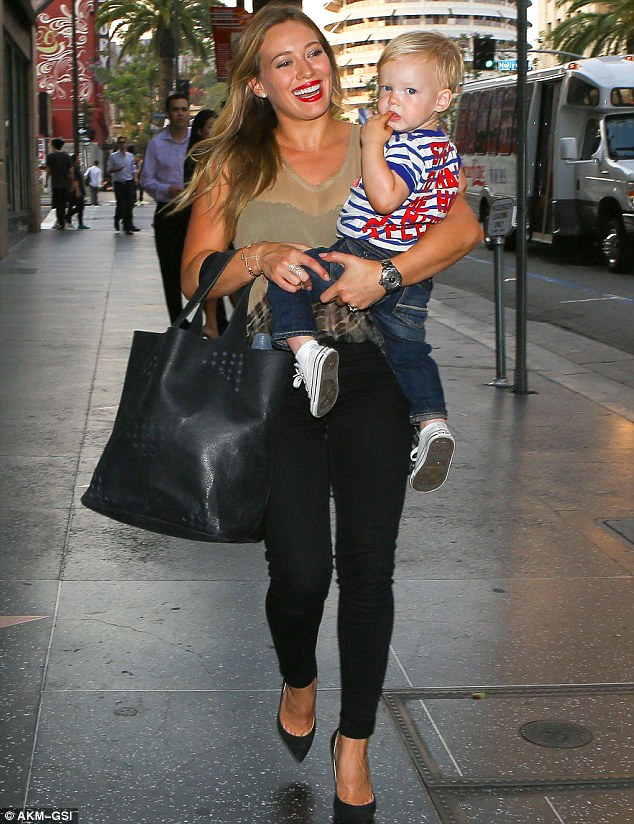 And changing again! Later on Saturday, Hilary and Luca changed for an evening out at trendy Katsuya Restaurant at the Walk of Fame in Hollywood