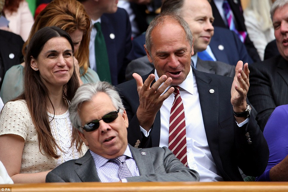 Olympian: Sir Steve Redgrave gestures in the Royal Box ahead of Andy Murray's match on Centre Court
