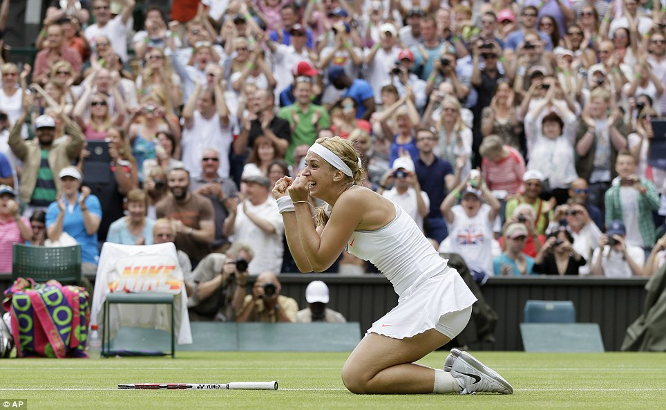 Ecstatic: Sabine Lisicki of Germany reacts after beating the defending champion Serena Williams in the last-16 tie this afternoon