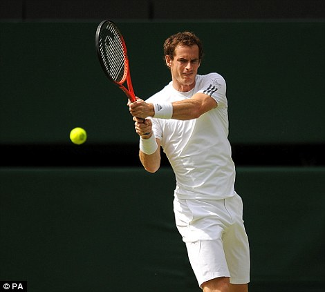 Dominant: Murray continued his perfect record of not having a dropped a set this Wimbledon, although the Russian made him fight hard for the second