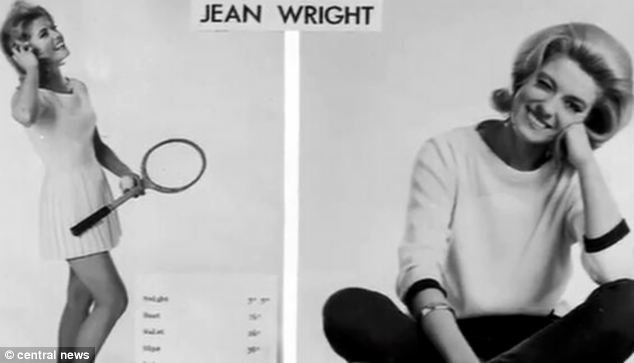 Pretty: Jean Farrar, modelling under her maiden name in these pictures, had starred alongside Roger Moore in an episode of The Saint