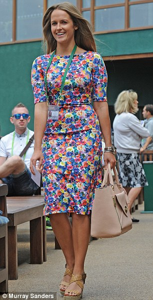 Bright entrance: Kim Sears arrived at Wimbledon today in a colourful Zara dress