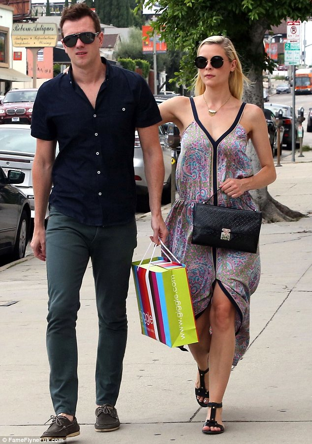 Happy couple: Jaime looked lovely in a paisley printed dress as she and Kyle attended a party in West Hollywood on Sunday