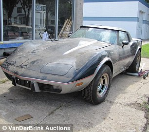 Rare and Expensive: It is thought that this Corvette Stingray (left) with four miles on the clock might reach upwards of $50,000 - while the blue Chevy Cameo (right) is hoped to make upwards of six figures