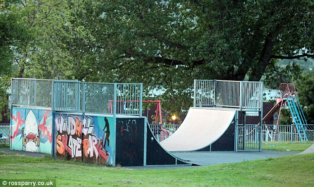 Scene: The body of pensioner Louisa Denby, 84, was discovered by police following reports of the attack on the schoolboy at the skate park in Shipley