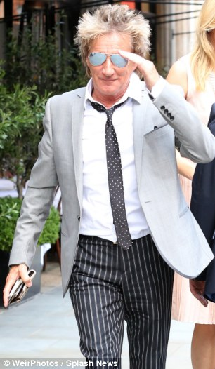 Rod Stewart & Penny Lancaster are seen here eating at Scotts Restaurant in Mayfair