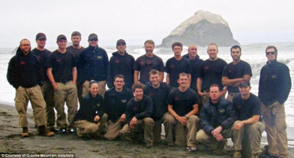 Heroes: A group photograph shows members of the Prescott Granite Mountain Hotshots