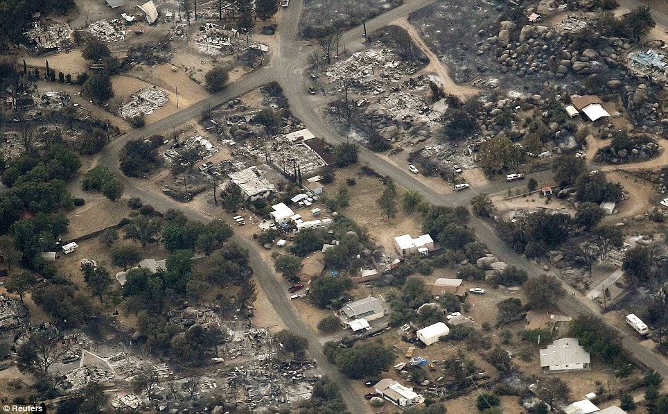Deadly: Much of the small Arizona town was destroyed when the blaze tore through the area