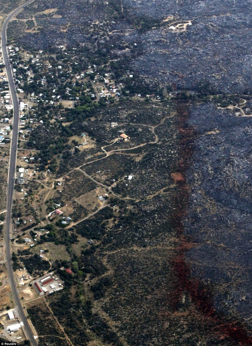 Forest: Large swathes of forest were scorched when the blaze tore through the area