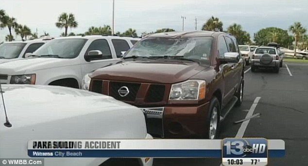 Impact: The two young girls came crashing down onto a SUV parked behind the condominium buildings at Panama City Beach