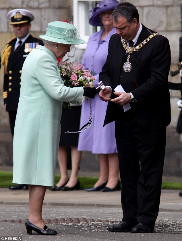 The Queen arrived at Palace of Holyroodhouse for the Ceremony of the Keys where she was greeted Lord Provost of Edinburgh Cllr Donald Wilson and accepted the keys to Edinburgh City