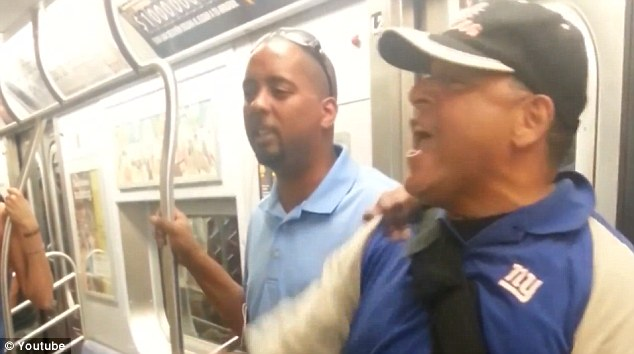 A group of people stood up to the 'gay bashers' who were backed up against the door of the train