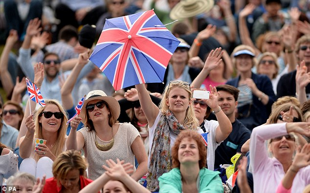 Union: Fans on 'Murray Mound' cheer on the British star in his quarter-final
