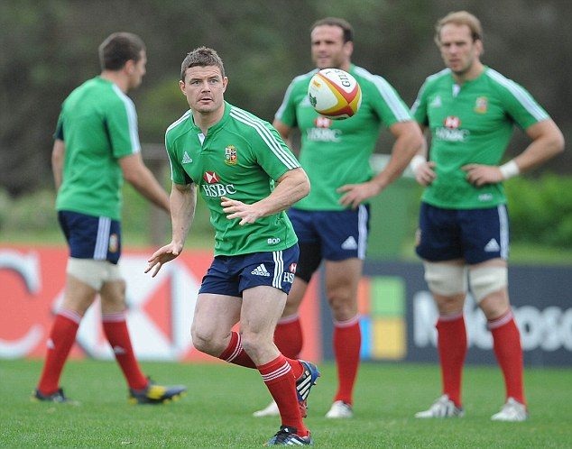 Agony: Brian O'Driscoll trained with the Lions squad in Noosa knowing he has been left out of the final Test team