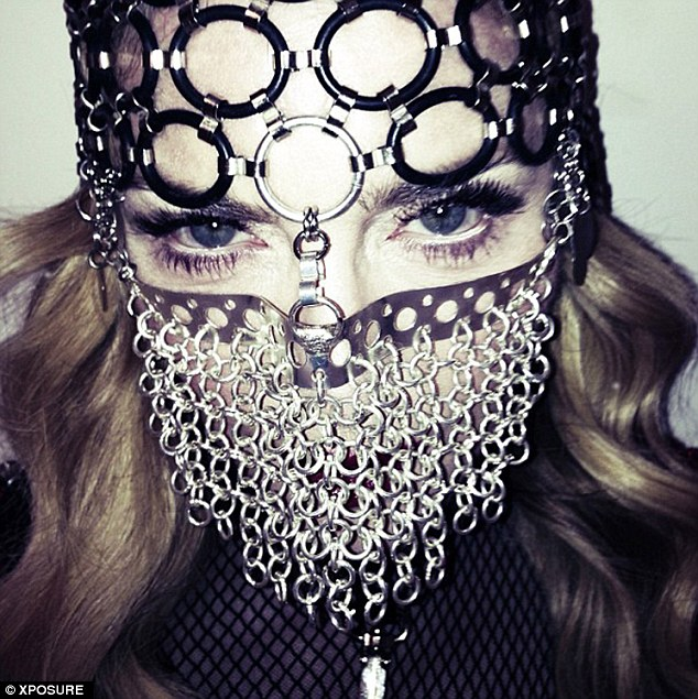Controversial: Madonna shared a picture of herself wearing a chainmail niqab