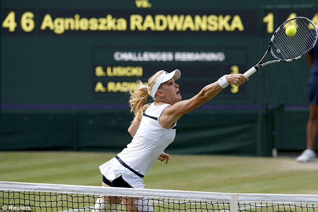 At full stretch: Radwanska reaches out for a return