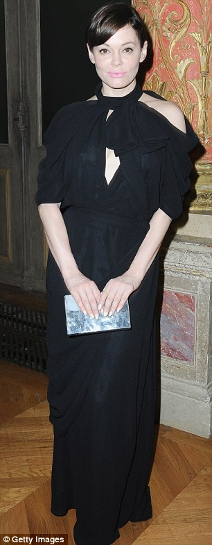 Quick change: Rose later changed into a less revealing outfit to attend the Viktor&Rolf show