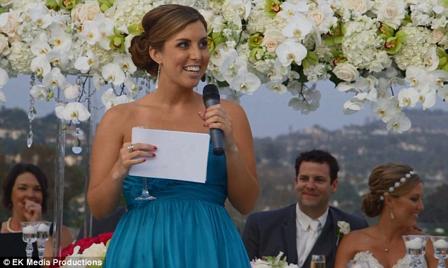 Amazing: The spectacular speech begins as any other, with Jennifer Gabrielli, pictured, explaining to the crowd how she fits in to the bridal party