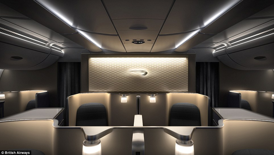 Plush interior: The bar area of the new A380 plane which touched down at Heathrow, west London, for the first time today