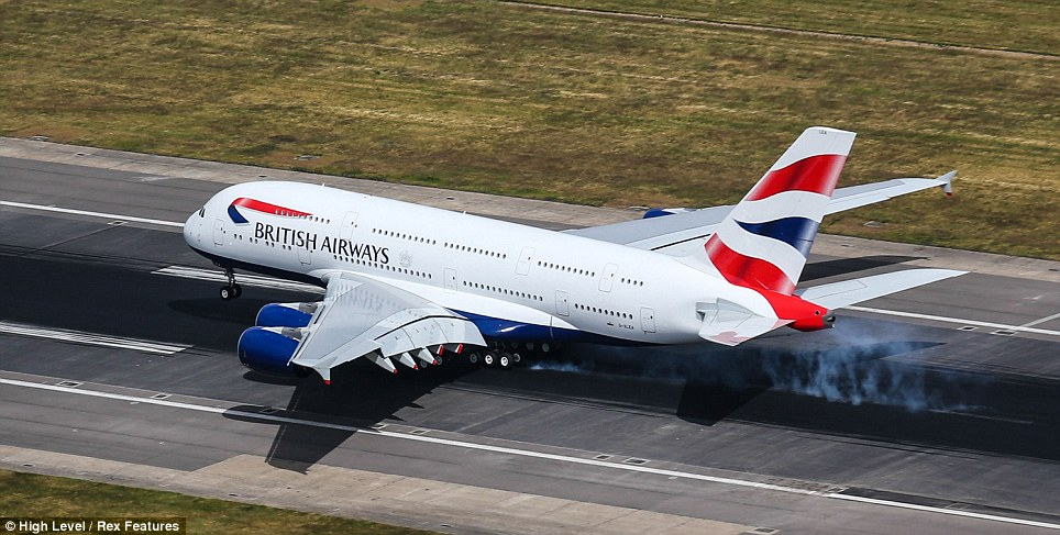 Arrival: Captain James Basnett landed BA's new double-decker Airbus A380 touching down bang on time at 10.30am after a smooth and eerily quiet one and a half hour flight from the Airbuse factory in Toulouse