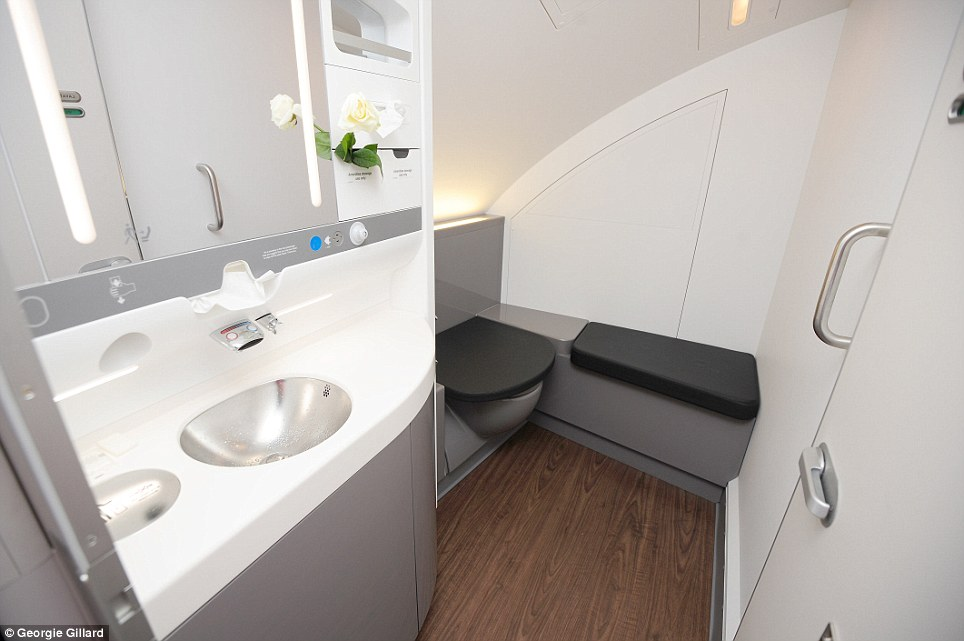 Mile high club: The surprisingly spacious toilets in the new A380 plane which is more than double the size of a traditional airline restroom.  BA have said they chose to put two large toilets on the plane instead of showers like on the Emirates Airbus
