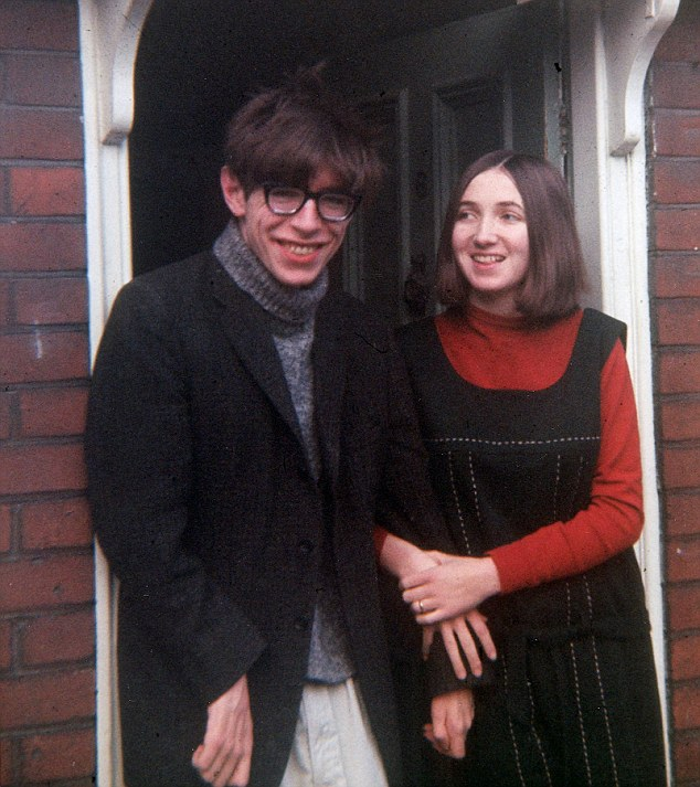 Hawking in the sixties with his first wife Jane. The pair later divorced after more than 25 years of marriage